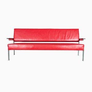 Niederländisches Sofa aus Palisander & rotem Leder von Martin Visser für t Spectrum, 1960er