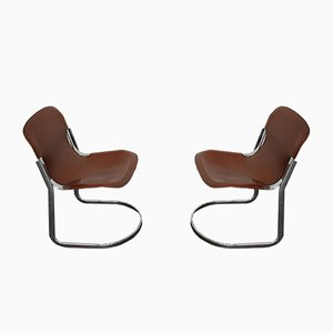 Cantilever Leather Dining Chairs by Willy Rizzo for Cidue, 1970s, Set of 2