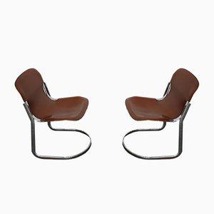 Cantilever Leder Esszimmerstühle von Willy Rizzo für Cidue, 1970er, 2er Set