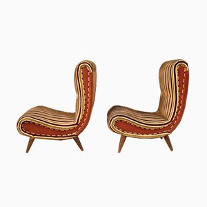 Fabric and Velvet Lounge Chairs in the style of Marco Zanuso, 1960s, Set of 2