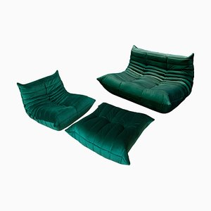 Bottle Green Velvet Togo Living Room Set by Michel Ducaroy for Ligne Roset, 1970s, Set of 3