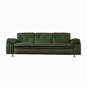 Danish Modern 3-Seater Green Leather Sofa, 1970s