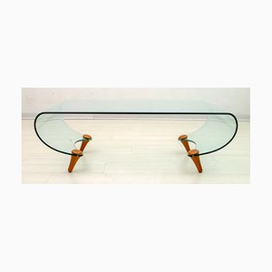 Italian Postmodern Curved Glass Tango Coffee Table by Fabio Di Bartolomei for Fiam, 1996