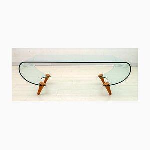 Postmoderner italienischer Tango Couchtisch aus gebogenem Glas von Fabio Di Bartolomei für Fiam, 1996
