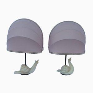 Vintage Alabaster Table Lamps with Snail Design, Set of 2