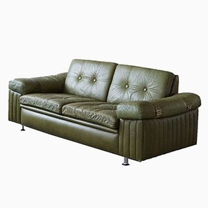 Danish Modern 2-Sitzer Sofa aus grünem Leder, 1970er