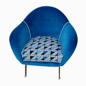Mid-Century Lounge Chair with Roberta di Camerino Velvet