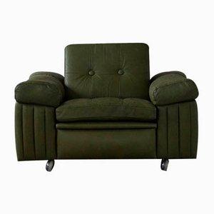 Danish Modern Green Leather 3-Seater Sofa, 1970s