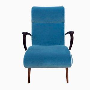 Mid-Century Blue Velvet Lounge Chair