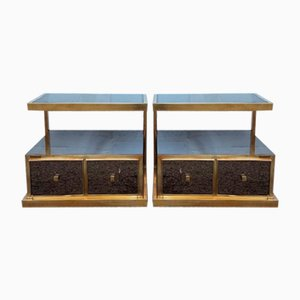 Vintage Nightstands with Mirrors, Set of 2