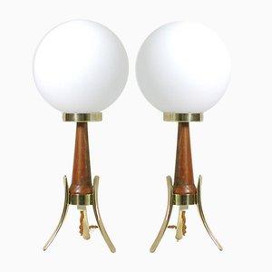 Scandinavian Modern Teak, Brass and Opaline Table Lamps, 1950s, Set of 2
