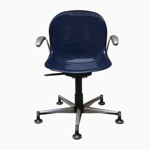 Mid-Century Modern Italian Blue Plastic Swivel Armchair, 1970s