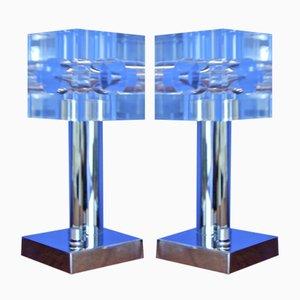 Lampade da tavolo in plexiglas e acciaio cromato, anni '70, set di 2