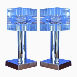 Plexiglas & Chromed Steel Table Lamps, 1970s, Set of 2