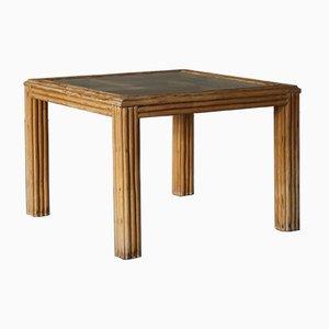 Quadratischer italienischer Vintage Tisch aus Rattan mit Glasplatte, 1970er