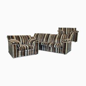Corduroy Sofa & Lounge Chairs, 1970s, Set of 3