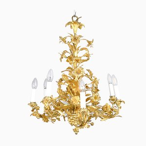 Gilt Bronze Chandelier with Flowers and Leaves