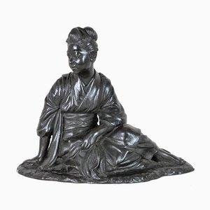 Assise japonaise, bronze, époque Meiji, 19e siècle