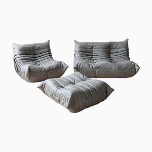 Leather Grey Togo Living Room Set by Michel Ducaroy for Ligne Roset, 1970s, Set of 3