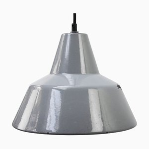 Grey Enamel Vintage Industrial Hanging Lamp from Philips