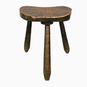 Moderner italienischer rustikaler Holzhocker der Mitte des Jahrhunderts mit sich verjüngenden Beinen, 1960er Jahre
