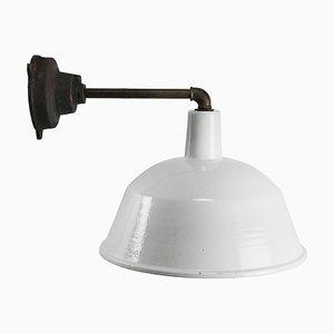 Lampada da parete industriale vintage in ghisa smaltata bianca