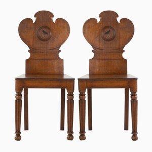 19th-Century Oak Hall Chairs, Set of 2