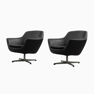 Scandinavian Vintage Black Swivel Chairs, 1970s, Set of 2