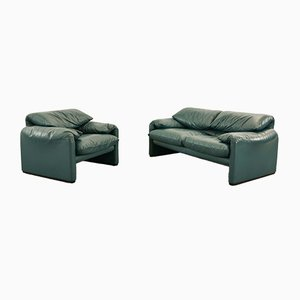 Dunkelgrünes benzinfarbenes Leder Maralunga 2-Sitzer Sofa & Sessel von Vico Magistretti für Cassina, 2000er Jahre, 2er Set