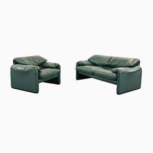 Dunkelgrünes gelbes Maralunga 2-Sitzer Ledersofa & Sessel von Vico Magistretti für Cassina, 2000er, 2er Set