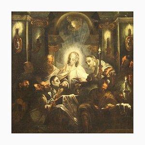 Antico dipinto religioso italiano la comunione degli apostoli, XVIII secolo