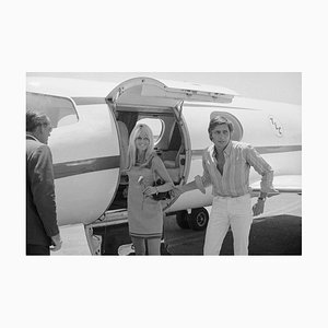 Brigitte Bardot with Gunther Sachs Archival Pigment Print Framed in White by Bettmann