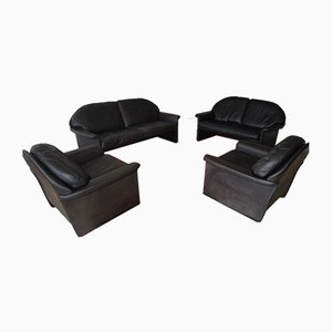 Vintage Leather Sofas from de Sede, Set of 4