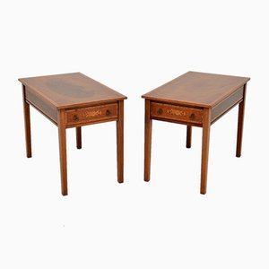 Antique Inlaid Mahogany Side Tables, 1920s, Set of 2