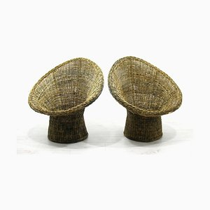 Rattan Armchairs, 1970s, Set of 2