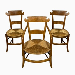 Directoire Cherry Wood Chairs, Set of 3