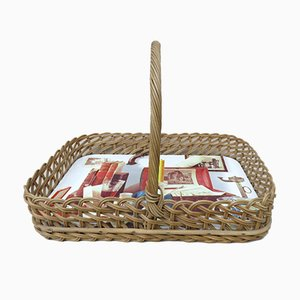 Wicker Decoration Tray with Handle, 1950s
