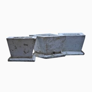 Vintage Concrete Planters, 1900s, Set of 3
