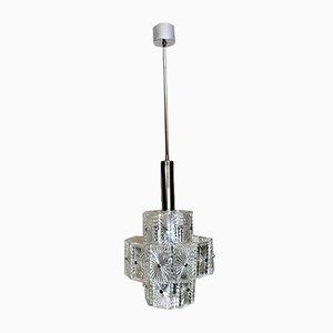 Vintage Italian Half-Crystal and Nickel-Plated Metal 12-Light Chandelier, 1960s