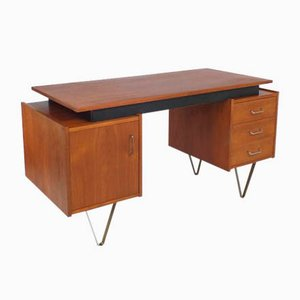 Teak Desk with Hairpin Legs and Floating Top from Tijsseling, 1960s