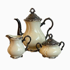 Silver Plated Porcelain Tea Service, Set of 3