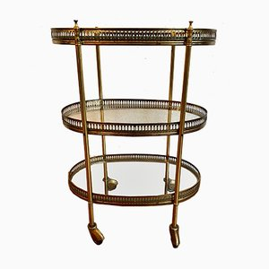 Neoclassical Golden Oval Bar Trolley with Glass Trays
