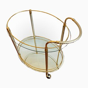 Gold Plated Neoclassical Brass Bar Trolley on Wheels, 1960s