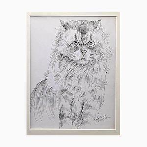 Marie Paulette Lagosse - die Katze - Original Pen on Paper - 1970er Jahre
