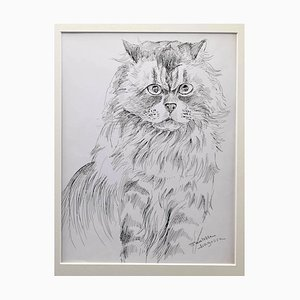 Marie Paulette Lagosse - el gato - Pluma original sobre papel - Década de 1970
