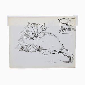 Marie Paulette Lagosse - los gatos - Pluma original sobre papel - Década de 1970