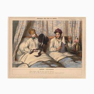 Paul Gavarni (Guillaume Sulpice Chevalier) - Peuple du monde du zodiaque - Lithographie - Première moitié de 1800