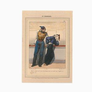 Paul Gavarni (Guillaume Sulpice Chevalier) - the Tops - Lithografie - 1848