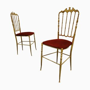 Vintage Brass Chiavari Chairs, 1960s, Set of 2