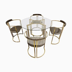 Vintage Brass Dining Room Set from Belgo Chrom, 1970s
